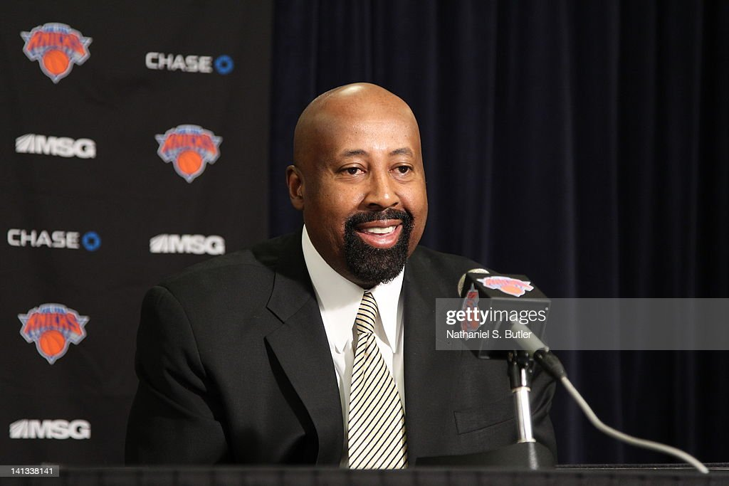 Mike Woodson is introduced as Interim Head Coach of the New York Knicks prior to the team taking on the Portland Trail Blazers on March 14, 2012 at Madison Square Garden in New York City.