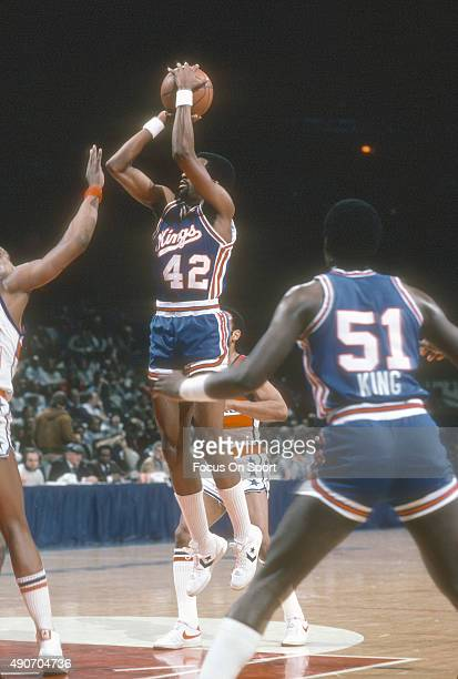 Mike Woodson of the Kansas City Kings shoots against the Washington Bullets during an NBA basketball game circa 1982 at the Capital Centre in...
