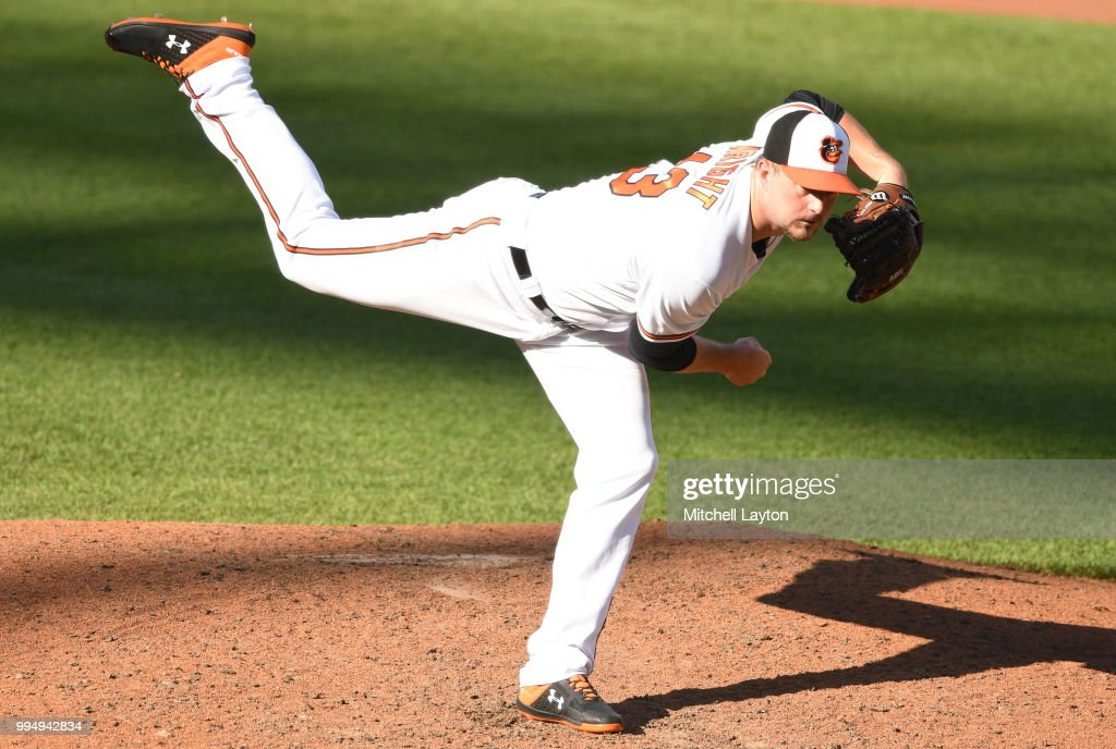 Mike Wright Jr. #43 of the Baltimore Orioles pitches in the sixth inning during a game one of a doubleheader baseball game against the New York Yankees at Oriole Park at Camden Yards on July 9, 2018 in Baltimore, Maryland.