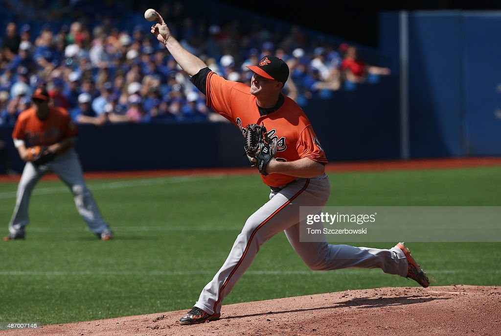 Mike Wright #59 of the Baltimore Orioles delivers a pitch in the first inning during MLB game action against the Toronto Blue Jays on September 5, 2015 at Rogers Centre in Toronto, Ontario, Canada.