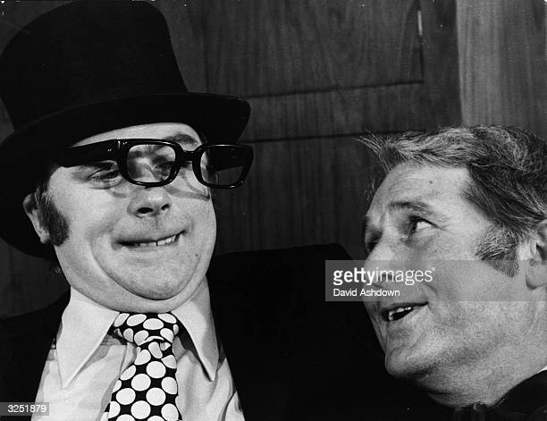 Mike Yarwood with Ernie Wise at the talk of the town party