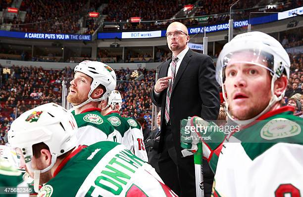 Mike Yeo head coach of the Minnesota Wild questions a disallowed goal during their NHL game against the Vancouver Canucks at Rogers Arena February 28...