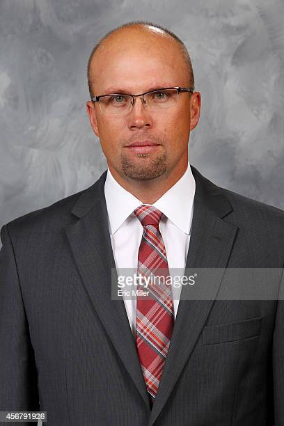 Mike Yeo of the Minnesota Wild poses for his official headshot for the 20142015 season on September 18 2014 at the Xcel Energy Center in St Paul...