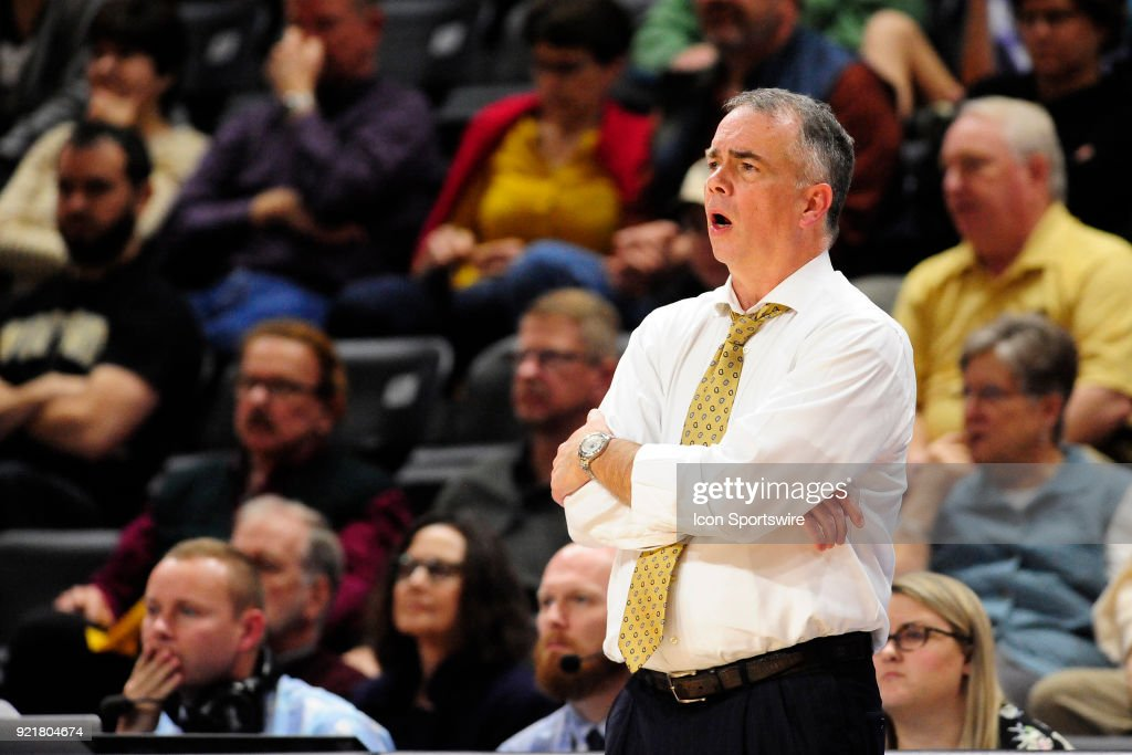 Mike Young head coach Wofford College Terriers reacts to a no-call by a referee in the game against the University of North Carolina Greensboro (UNCG) Spartans, Tuesday, February 20, 2018, at Richardson Indoor Stadium in Spartanburg, South Carolina. UNC Greensboro wins 76-66.