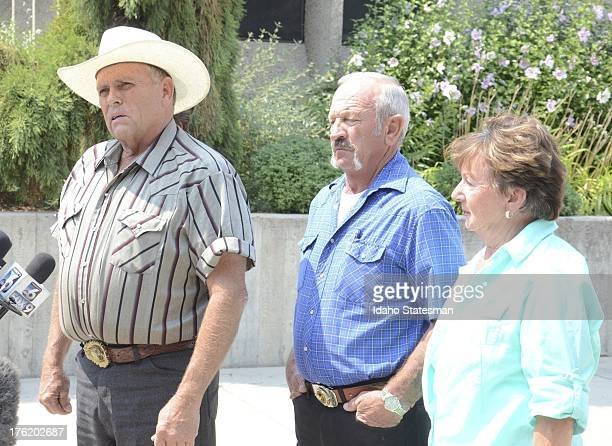 Mike Young left Mark John and Christa John talk to the media in Boise Idaho about their encounters Wednesday with kidnapper James DiMaggio and...