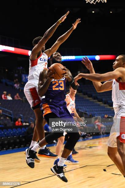 Mike Young of the Northern Arizona Suns handles the ball against the Agua Caliente Clippers on December 8 2017 at Citizens Business Bank Arena in...