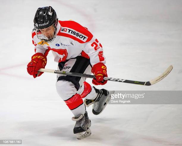 Mike Zaugg of the Switzerland Nationals skates up ice against the USA Nationals during day2 of game two of the 2018 Under17 Four Nations Tournament...