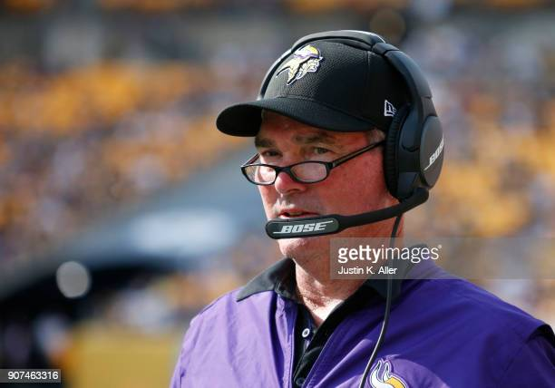 Mike Zimmer of the Minnesota Vikings in action against the Pittsburgh Steelers on September 17 2017 at Heinz Field in Pittsburgh Pennsylvania