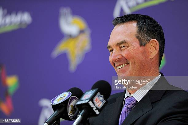 Mike Zimmer of the Minnesota Vikings speaks to the media after being introduced as the new head coach during a press conference on January 17 2013 at...