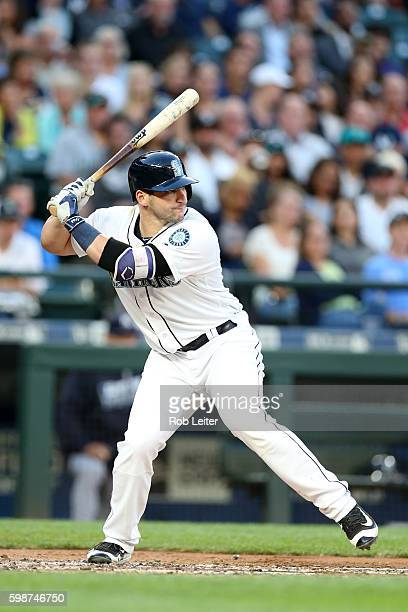 Mike Zunino of the Seattle Mariners bats during the game against the New York Yankees at Safeco Field on August 23 2016 in Seattle Washington The...