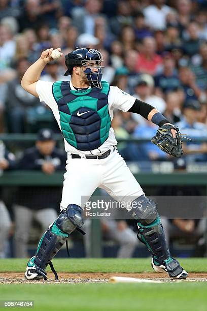 Mike Zunino of the Seattle Mariners catches during the game against the New York Yankees at Safeco Field on August 23 2016 in Seattle Washington The...