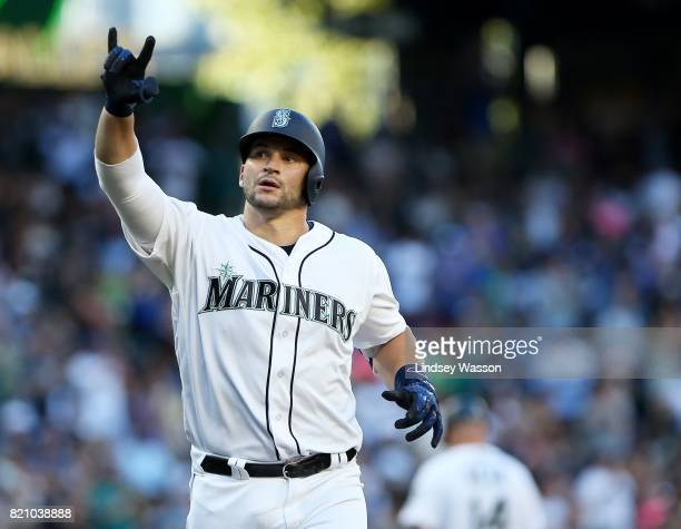 Mike Zunino of the Seattle Mariners celebrates his solo home run in the third inning against the New York Yankees at Safeco Field on July 22 2017 in...