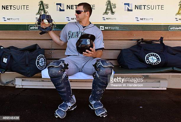 Mike Zunino of the Seattle Mariners prepairs for the game against the Oakland Athletics at Oco Coliseum on April 12 2015 in Oakland California