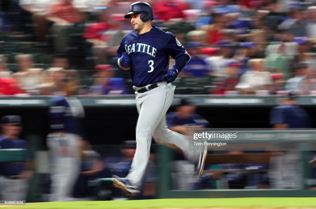 Mike Zunino #3 of the Seattle Mariners rounds the bases after hitting a solo home run in the top of the fifth inning at Globe Life Park in Arlington on September 13, 2017 in Arlington, Texas.