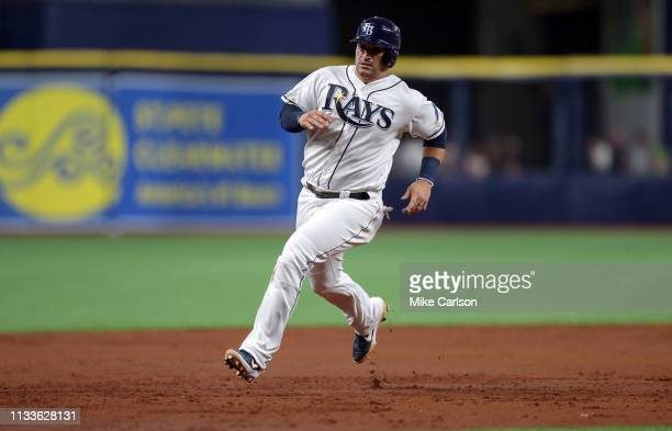 Mike Zunino of the Tampa Bay Rays advances to third base on a single by Timmy Pham in the third inning of a baseball game against the Houston Astros...