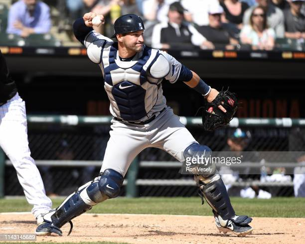 Mike Zunino of the Tampa Bay Rays catches against the Chicago White Sox on April 8 2019 at Guaranteed Rate Field in Chicago Illinois