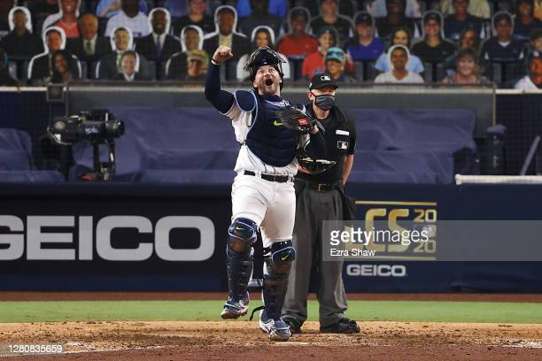 Mike Zunino of the Tampa Bay Rays celebrates a 4-2 win against the Houston Astros to win the series in Game Seven of the American League Championship...