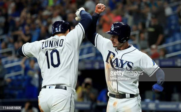 Mike Zunino of the Tampa Bay Rays celebrates a two run home run with Daniel Robertson in the seventh inning during a game against the Kansas City...