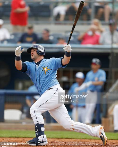 Mike Zunino of the Tampa Bay Rays hits a solo home run in the fifth inning against the New York Yankees during the Grapefruit League spring training...