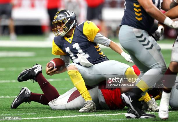 Mike Bercovici of the San Diego Fleet is sacked during the second half against the the San Antonio Commanders in an Alliance of American Football...