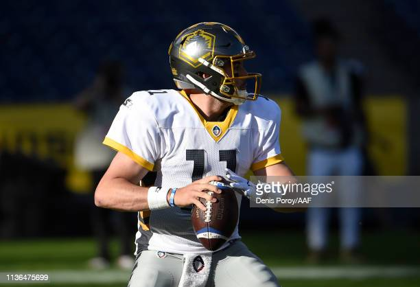Mike Bercovici of the San Diego Fleet looks to pass the ball during the first half against the Birmingham Iron in an Alliance of American Football...