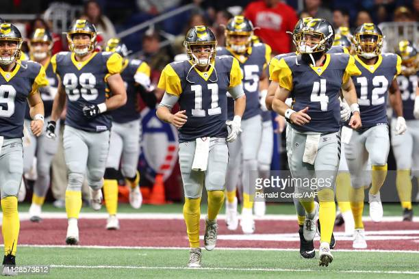 MikeBercovici of the San Diego Fleet runs onto the field with teammates prior to an Alliance of American Football game against the the San Antonio...