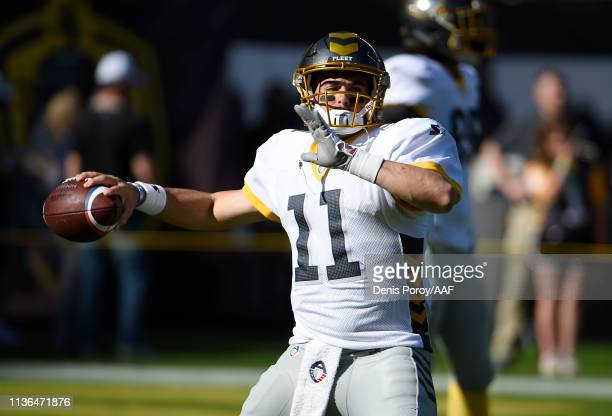 Mike Bercovici of the San Diego Fleet warms up before an Alliance of American Football game against the Birmingham Iron at SDCCU Stadium on March 17...