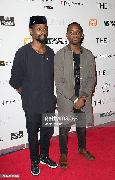 Mikel Ameen and Aml Ameen arrive for the film premiere of 'The Intent' at Cineworld Haymarket on July 25 2016 in London England