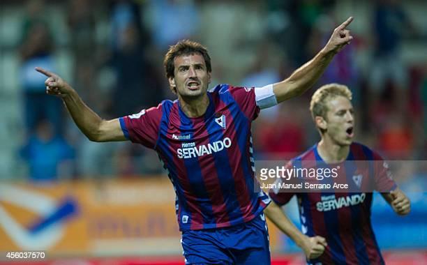 Mikel Arruabarrena of SD Eibar celebrates after scoring a goal during the La Liga match between SD Eibar and Villarreal CF at Ipurua Municipal...