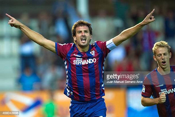 Mikel Arruabarrena of SD Eibar celebrates after scoring the opening goal during the La Liga match between SD Eibar and Villarreal CF at Ipurua...
