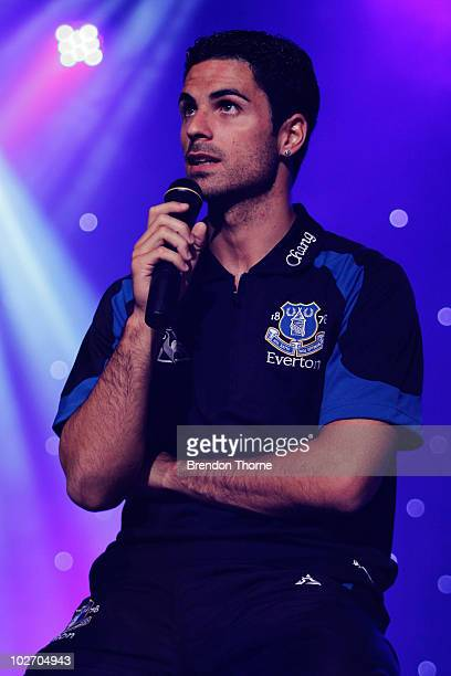Mikel Arteta addresses the audience at the Everton Gala Dinner charity fundraiser in support of the Tim Cahill Cancer Fund for Children at Rooty Hill...