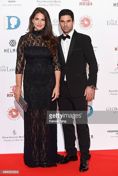 Mikel Arteta and Lorena Bernal attend The Global Gift Gala at Four Seasons Hotel on November 30 2015 in London England