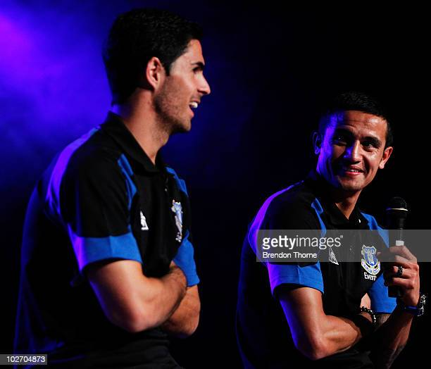 Mikel Arteta and Tim Cahill address the audience at the Everton Gala Dinner charity fundraiser in support of the Tim Cahill Cancer Fund for Children...