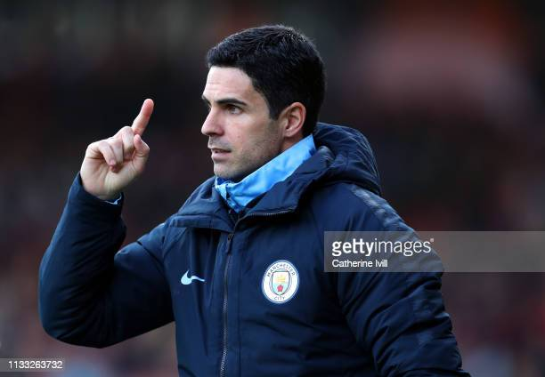Mikel Arteta assistant coach of Manchester City during the Premier League match between AFC Bournemouth and Manchester City at Vitality Stadium on...
