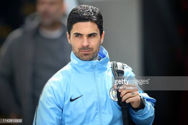 Mikel Arteta assistant manager of Manchester City arrives prior to the Premier League match between Crystal Palace and Manchester City at Selhurst...
