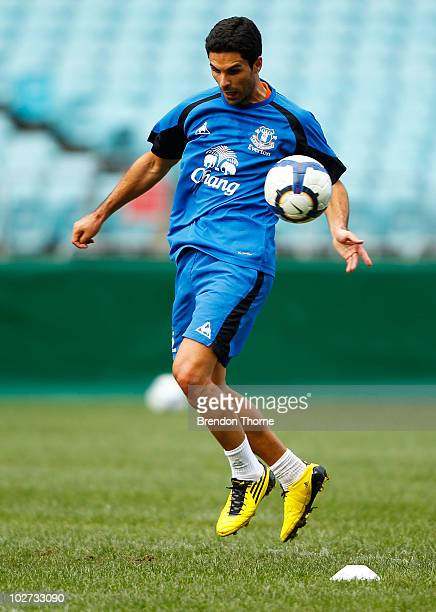 Mikel Arteta contols the ball during the Evertone training session at ANZ Stadium on July 9 2010 in Sydney Australia