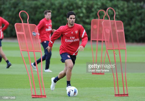 Mikel Arteta in training as he signs for Arsenal at London Colney on September 05, 2011 in St Albans, England.