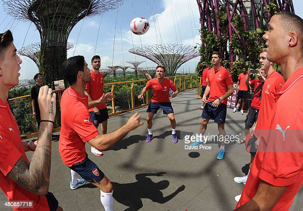 Mikel Arteta Jon Toral Nacho Monreal and Emiliano Martinez of Arsenal visit Gardens By The Bay on July 16 2015 in Singapore