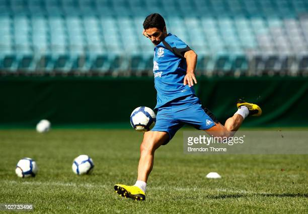 Mikel Arteta kicks the ball during the Evertone training session at ANZ Stadium on July 9 2010 in Sydney Australia