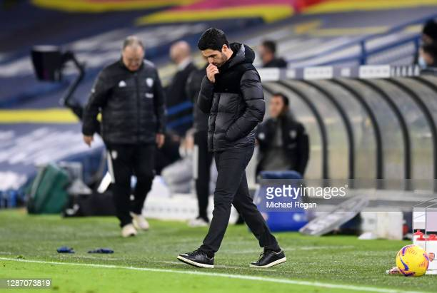 Mikel Arteta Manager of Arsenal cuts a dejected figure in his technical area during the Premier League match between Leeds United and Arsenal at...