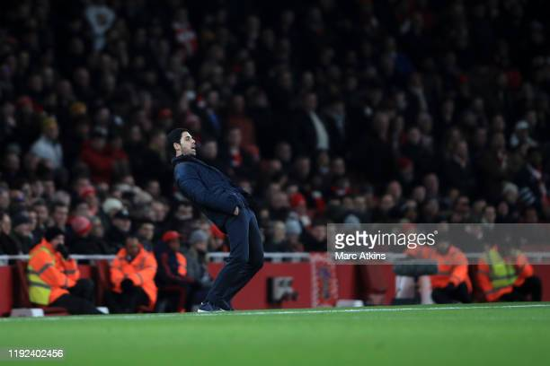 Mikel Arteta manager of Arsenal during the FA Cup Third Round match between Arsenal and Leeds United at Emirates Stadium on January 6 2020 in London...