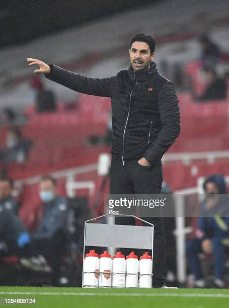 Mikel Arteta Manager of Arsenal during the Premier League match between Arsenal and Aston Villa at Emirates Stadium on November 08 2020 in London...