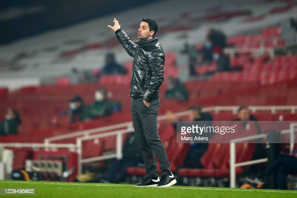 Mikel Arteta manager of Arsenal during the UEFA Europa League Group B stage match between Arsenal FC and Molde FK at Emirates Stadium on November 5...
