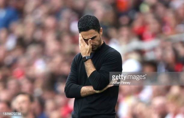 Mikel Arteta, Manager of Arsenal looks dejected during the Premier League match between Arsenal and Norwich City at Emirates Stadium on September 11,...