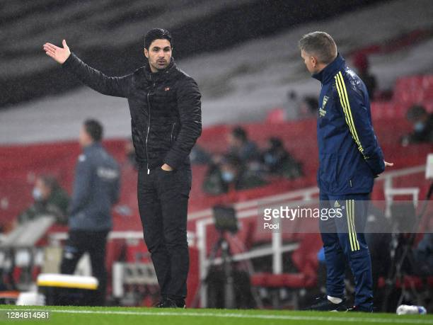 Mikel Arteta Manager of Arsenal looks on during the Premier League match between Arsenal and Aston Villa at Emirates Stadium on November 08 2020 in...