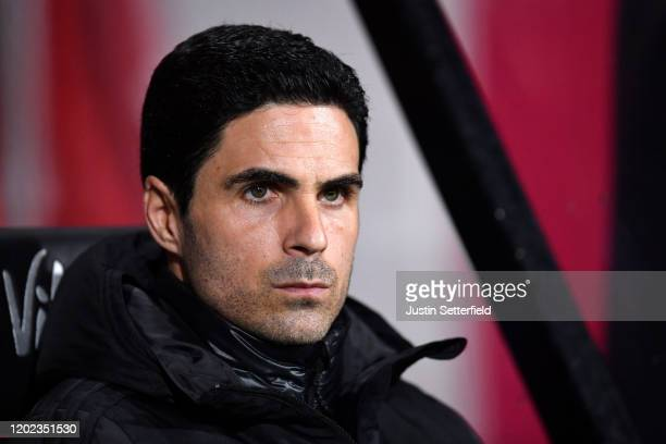 Mikel Arteta Manager of Arsenal looks on prior to the FA Cup Fourth Round match between AFC Bournemouth and Arsenal at Vitality Stadium on January 27...