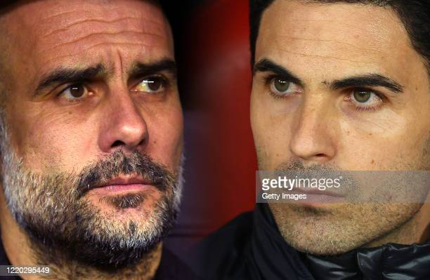 COMPOSITE OF IMAGES Image numbers 1208871408 1207576912 GRADIENT ADDED In this composite image a comparison has been made between Pep Guardiola...