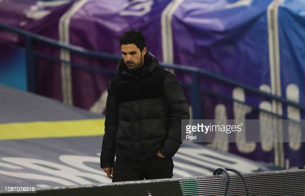 Mikel Arteta Manager of Arsenal makes his way back to the changing rooms at the end of the match during the Premier League match between Leeds United...