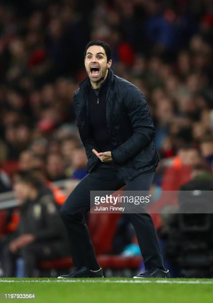 Mikel Arteta Manager of Arsenal reacts during the FA Cup Third Round match between Arsenal FC and Leeds United at the Emirates Stadium on January 06...