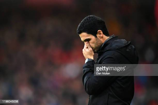 Mikel Arteta Manager of Arsenal reacts during the Premier League match between AFC Bournemouth and Arsenal FC at Vitality Stadium on December 26 2019...